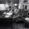 President -elect Jimmy Carter takes calls from world leaders and works on his inaugural speech late into the night of January 19, 1977 with National Security Advisor Zbigniew Brzezinski at his side. ©1977 Ken Hawkins/Ken HawkinsPictures.com